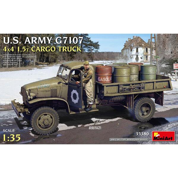 miniart 35380 1/35 US Army G7107 4x4 15t Cargo Truck Kit en plástico para montar y pintar. Incluye piezas en fotograbado,conductor y 8 bidones de gasolina. Todas las puertas y capó puedes montarse en posición abierta o cerrada.