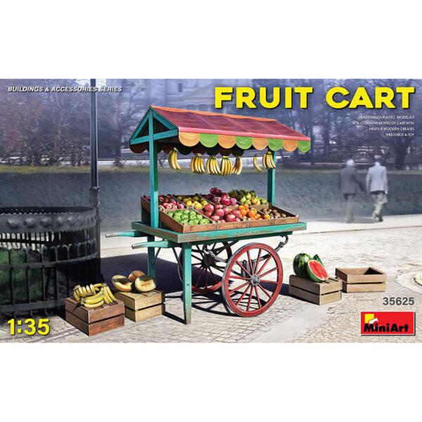 miniart 35625 1/35 Fruit Cart kit en plástico para montar y pintar. Contiene un carro, cajas de madera y frutas.