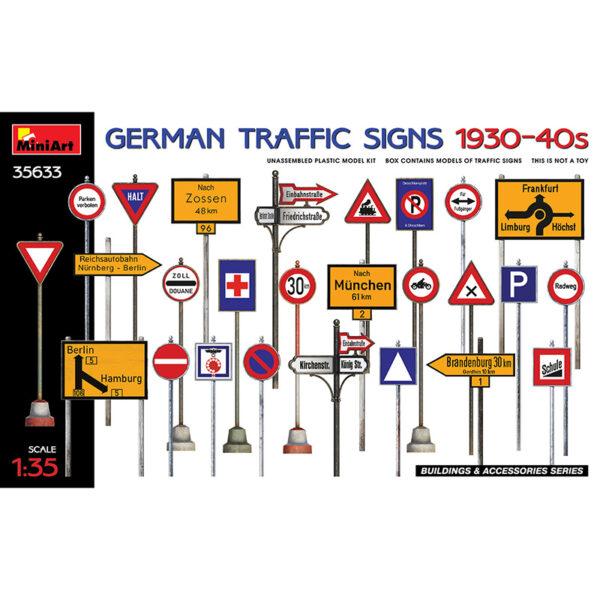miniart 35633 1/35 German Traffic Signs 1930-40s kit en plástico para montar y pintar señales de tráfico alemanas de los años 1930-40. Incluye calcas.