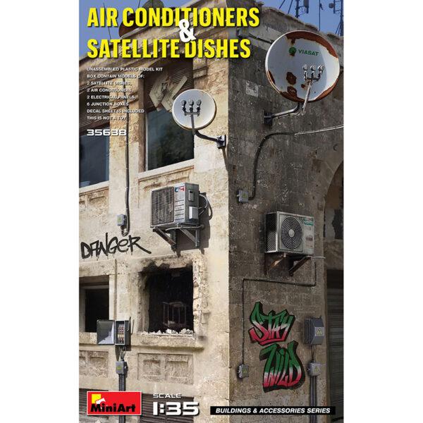 miniart 35638 1/35 Air Conditioners & Satellite Dishes kit en plástico para montar y pintar. Incluye piezas en fotograbado y calcas