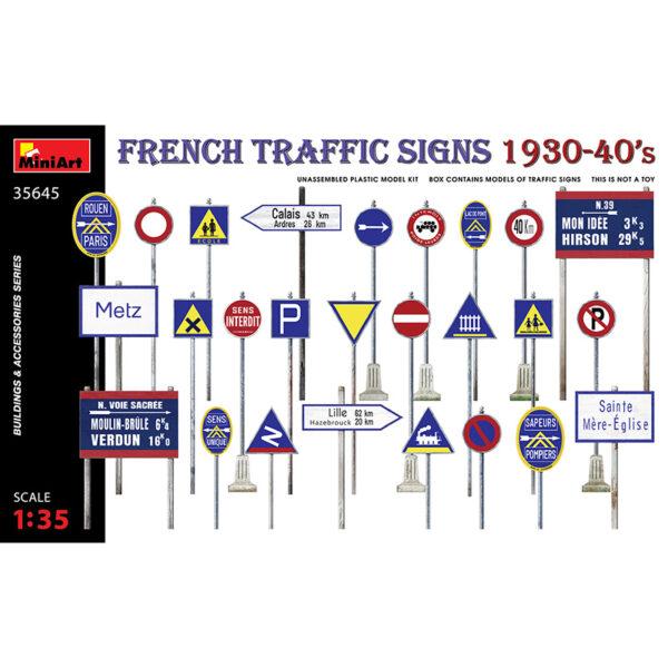 miniart 35645 1/35 French Traffic Signs 1930-40s kit en plástico para montar y pintar señales de tráfico francesas de los años 1930-40. Incluye calcas.